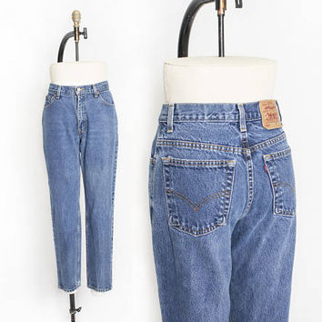 "Vintage Levi's 550 JEANS - Cotton Denim Relaxed Fit Tapered Leg High Waist Mom Jeans 1990s - 28"" x 29"" Medium"