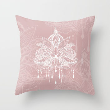 Blush mandala Throw Pillow by printapix