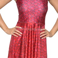 Red Dragon Scales Sleeveless Pleated Mini Dress Design 3053