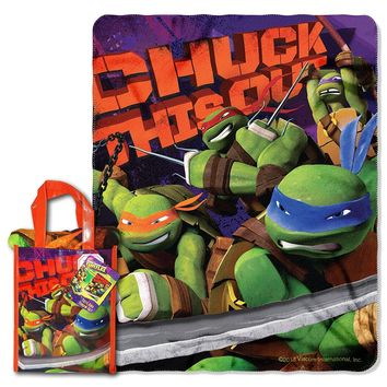 "Nickelodeon TMNT ""Ninja Chuck"" 40-inch by 50-inch Micro Raschel Throw and Reusable Tote Set"