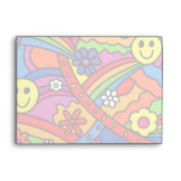 Smiley Face Rainbow and Flower Hippy Pattern Envelope