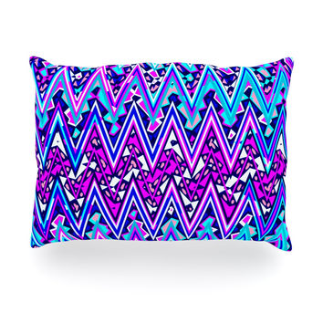 "Nika Martinez ""Blue Electric Chevron"" Oblong Pillow"