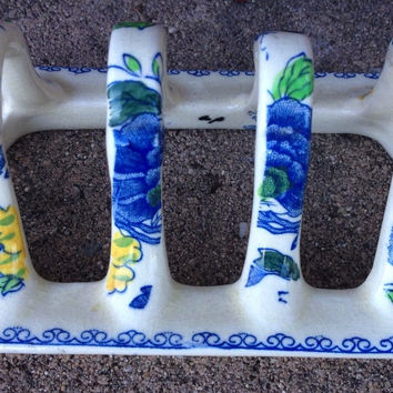 Masons Vintage English Blue Polychrome Transferware Toast Rack or Letter Organizer