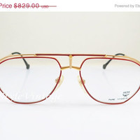 SPRING SALE MCM MÜNchen 6 , Pure Titanium , Aviator , New Old Stock , Vintage , Gold and Red , Sunglasses , Eyeglasses , Frames