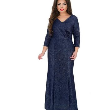 plus size Mermaid Long Dress Sequin Patchwork Maxi V-neck Dresses