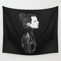 Dark Girl Wall Tapestry by Lostanaw