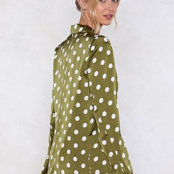 Going Somewhere Green Polka Dot Blazer