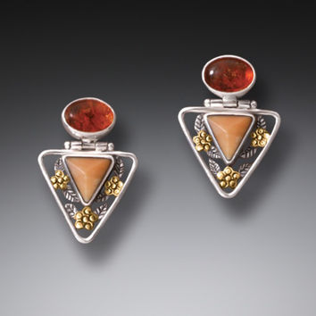 """Flower Triangle"" Ancient Fossilized Walrus Tusk Ivory and Amber Silver and 14kt Gold Fill Earrings"