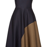 Navy And Moka Graphic Bustier Dress by Martin Grant - Moda Operandi