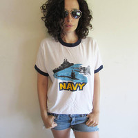 Vintage 70s US NAVY Ship Sub Jet Screen Stars Ringer T Shirt