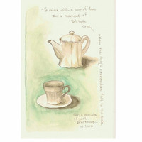 "Tea for One, Original Watercolor with graphite 6""x9"""