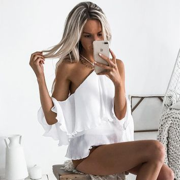 Sexy Backless Blouses Halter Neck Off Shoulder Ruffles Shirt Ladies Loose Soild Women Tops For Party Clubwear WS2006C