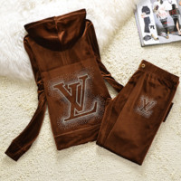 """LV"" New gradient embroider bead piece set auger fashion velvet suit sportswear Coffee"
