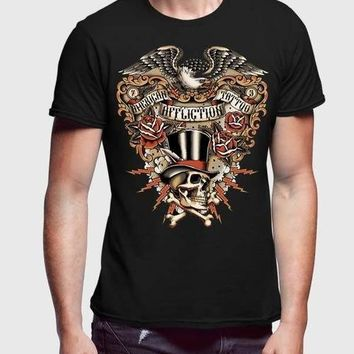 Affliction American Customs Black Half Sleeve Men