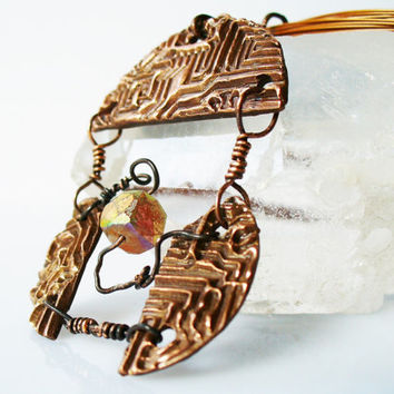 Copper Art Jewelry Statement Necklace titled Mothership Warm Cherry Flame Patina and cube Sunstone Articulated Pendant Unusual Handmade