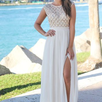 Gold Maxi Dress with Sequin Top