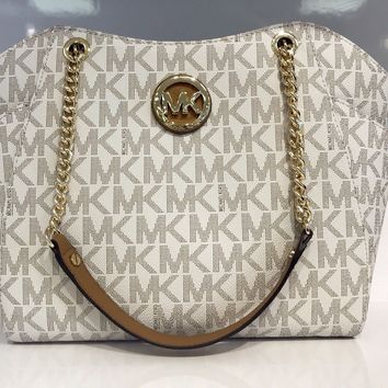 MICHAEL KORS JET SET CHAIN Vanilla Luggage MK Logo LARGE SHOULDER TOTE BAG