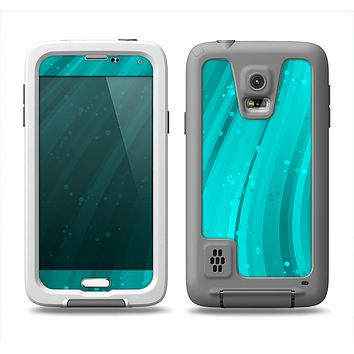 The Glowing Teal Abstract Waves Samsung Galaxy S5 LifeProof Fre Case Skin Set