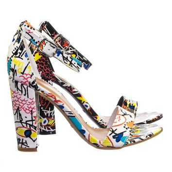 Frenzy69 Chunky Block Heel Graffiti Print Open Toe Dress Sandal w Ankle Strap
