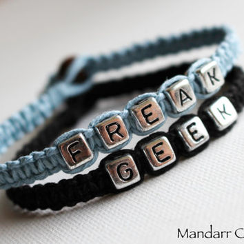 Freak and Geek, Light Blue and Black Hemp Bracelets, Set of Two, Friendship Accessory, Macrame Jewelry, Quirky Gift for Her