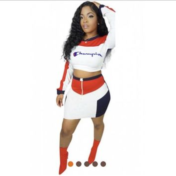 Champion long sleeve skirt sets