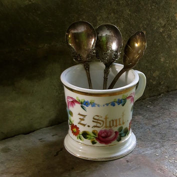 """Vintage French Limoges Shaving Mug - Hand Painted Gold Initials """"Z. Stout"""" - Pink and Blue Flowers - Coffee or Tea Cup - Cottage Decor"""