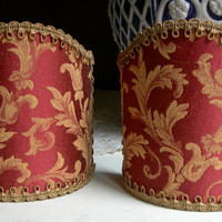 Pair of Wall Sconce Clip-On Shield Shades Burgundy Red Damask Mini Lampshade - Handmade in Italy