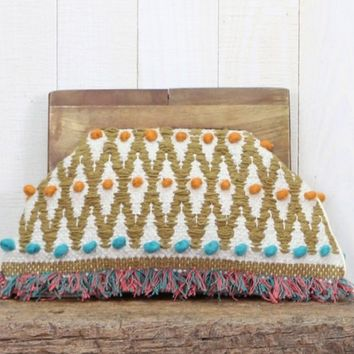 Hand Woven Wooden Handle Clutch by Lovestitch