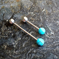 Turquoise Ends - Industrial Barbell Piercing 14G