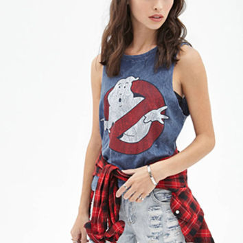 FOREVER 21 Distressed Ghostbusters Muscle Tank Blue/Red