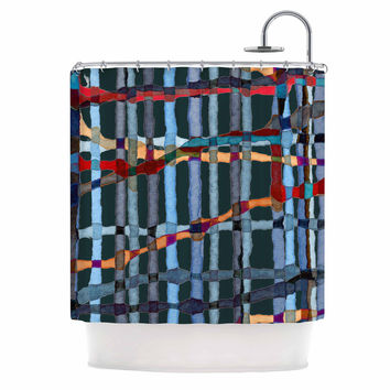 "Patternmuse ""Midnight Bamboo"" Multicolor Blue Painting Shower Curtain"