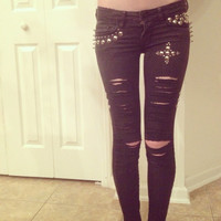 Black Studded Punk Rock Skinny Jeans