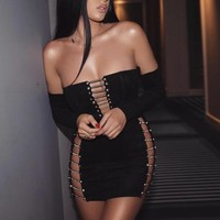 Badura- Off Shoulder Mini Skirt Set