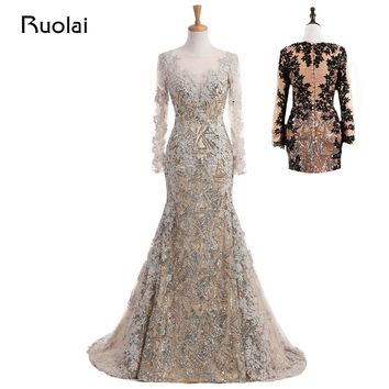 Real Photo Unique Mermaid Evening Dress Long Sleeves Muslim Prom Dress 2018 Lace Sequined Silver Vestido de Festa MD13