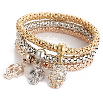 Crystal Skulls Three Color Bounce Bracelet