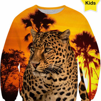 Leopard and Sunset Kids Sweatshirt