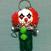 Pennywise Clown Voodoo String Doll Funny Keyring Keychain Key Ring Chain Bag Car KIller Scary Movie Decor Art Toy Boy Child Dolls Dollhouse