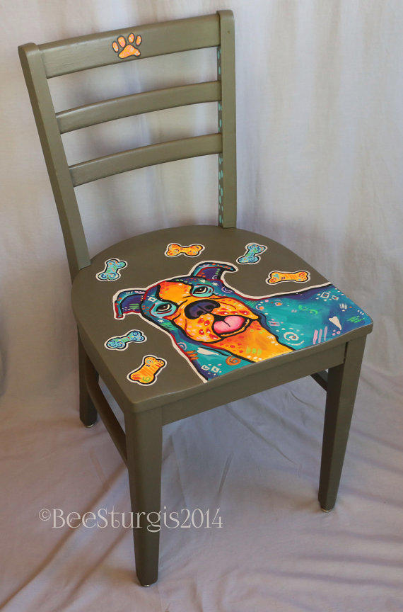 Whimsical Hand Painted Chair Decorative From