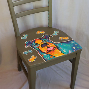 Whimsical hand painted chair decorative dog motif up cycled funky fun accent piece.