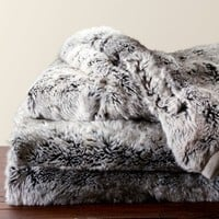 Faux Fur Throw - Gray Ombre | Pottery Barn
