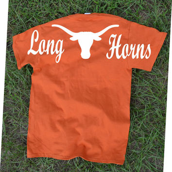 Texas Longhorns Spirit Tee Shirt ~ Monogram or not ~ Horns