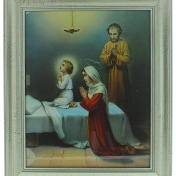 "FRAMED ART GLASS HOLY FAMILY PRAYING 10.25"" X 12.25""."