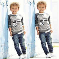 Fashion Baby Kids Boys Long Sleeve Shirt + Jeans Denim Trousers Set Outfits 1-6Y = 1930281732