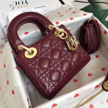 HCXX July 255 Christian Dior M40551 Fashion Embossing Classic Logo Lana Marks Princess Diana Handbag Wine Red gold 17cm