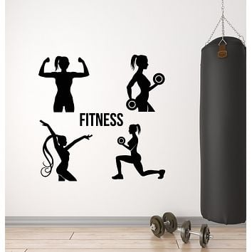 Vinyl Wall Decal Gym Fitness Girls Health Exercise Sport Decor Stickers Mural (g1649)