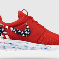 American Flag Customized Roshe Run Nike Shoes Women and Men