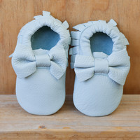 Baby Bow Leather Moccasins Light Blue Lagoon