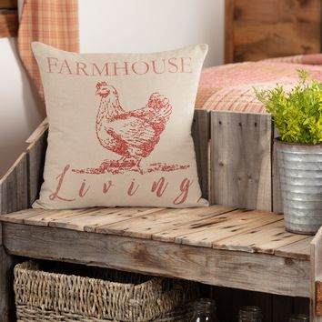 Sawyer Mill Red Chicken Farmhouse Living Pillow