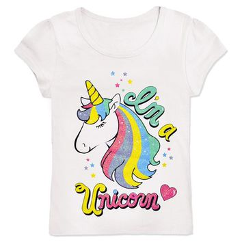 Cutie Patootie White 'I'm a Unicorn' Tee - Toddler & Girls