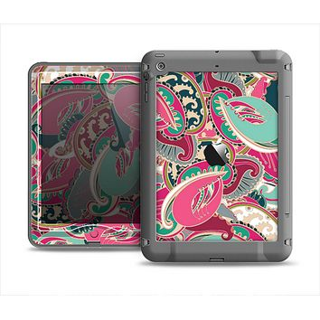 The Colorful Pink & Teal Seamless Paisley Apple iPad Mini LifeProof Nuud Case Skin Set